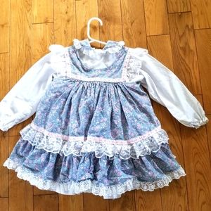 Toddler Puffy Ruffle Dress 3× 90's Vintage Floral